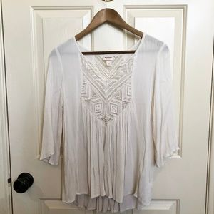 Flowy Ivory Top with Lace Detail
